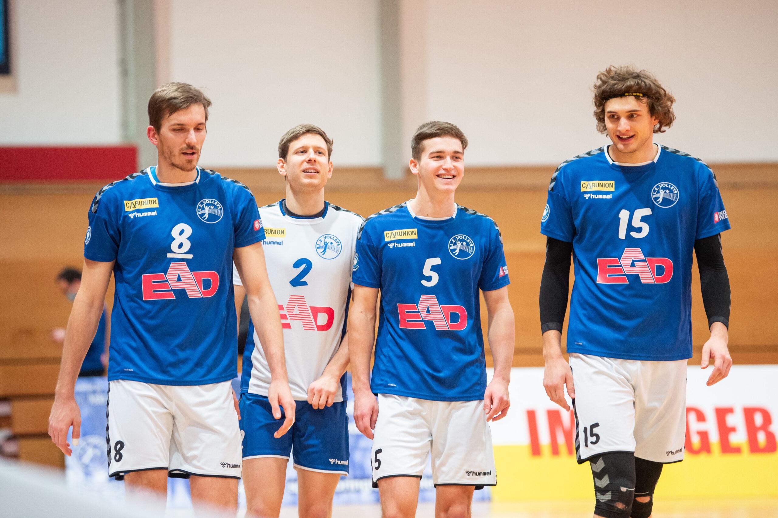 Chris Warsawski (Volleys #8), Julius Karoos (Volleys #2), Lorenz Deutloff (Volleys #5), Henrik Kamphausen (Volleys #15)   L.E. Volleys Leipzig vs TSV Grafing, Volleyball, 2.Liga, 30.01.2021