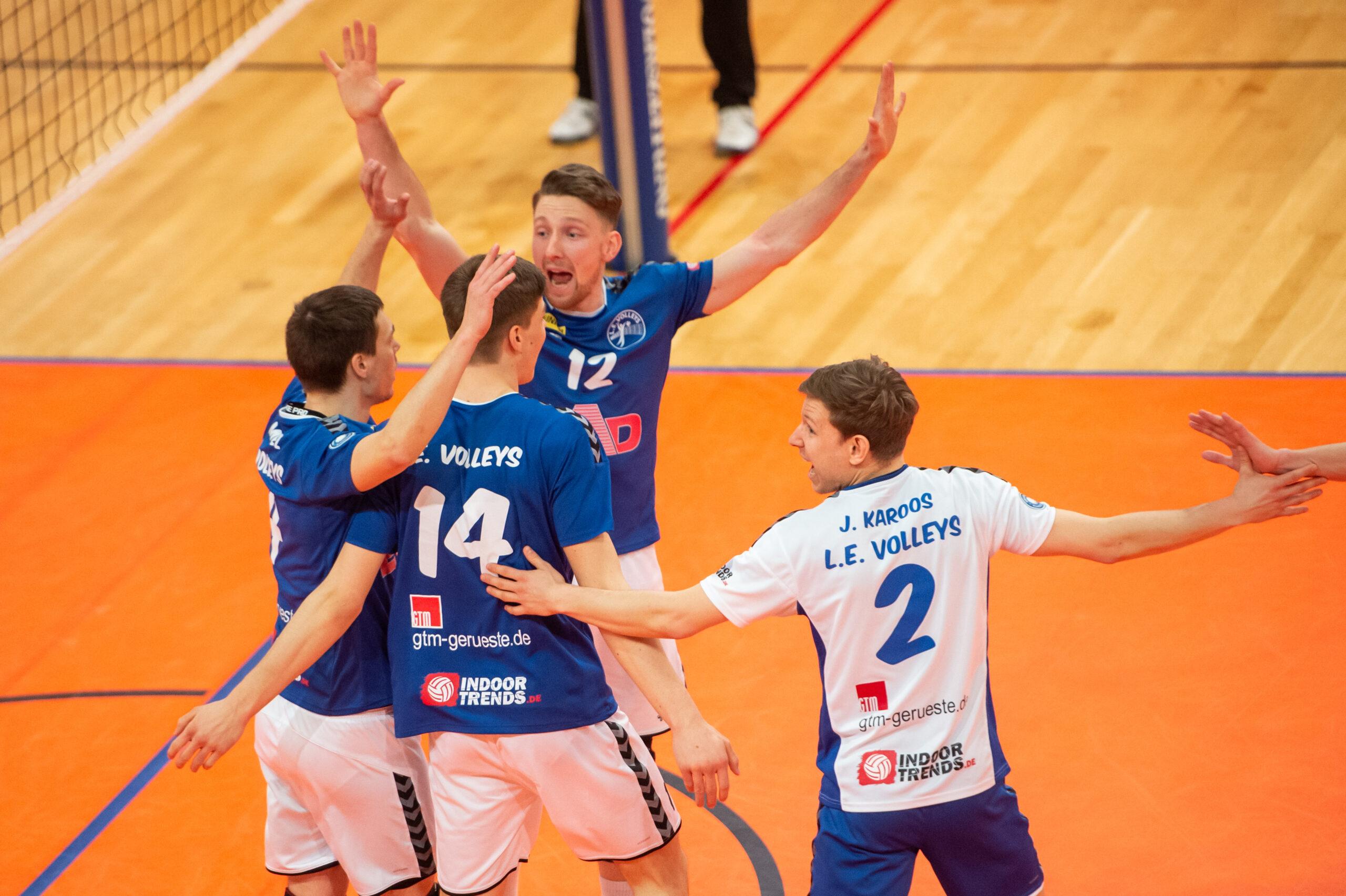 Rene Menzel (Volleys #4), Jannik Ko§mann (Volleys #14), Martin  Burgartz (Volleys #12), Julius Karoos (Volleys #2)    L.E. Volleys Leipzig vs TV/DJK Hammelburg, Volleyball, 2.Liga, 20.03.2021